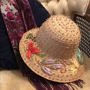 Vintage Floral Woven Straw Colorful Bucket Sunhat